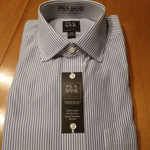 BNWT Jos A Bank Blue/white striped shirt 16/34
